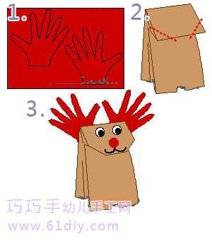 圣诞节小手工制作:纸袋驯鹿木偶