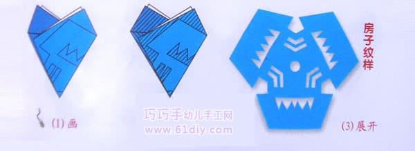 三角折剪——房子纹样剪纸