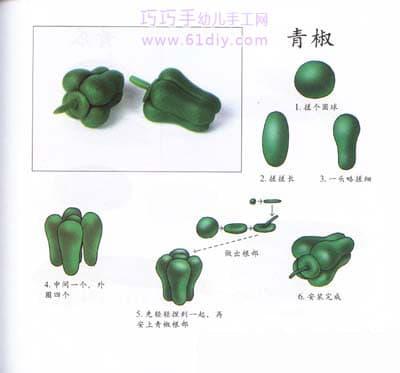 彩泥制作蔬菜——青椒