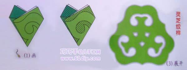 三角折剪——灵芝剪纸纹样
