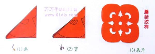 蘑菇剪纸纹样(四角折剪)