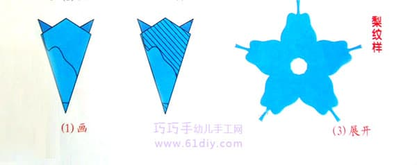 梨子剪纸纹样(五角折剪)