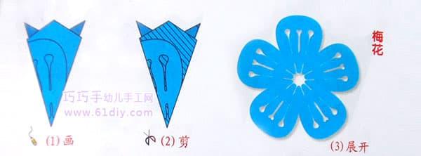 梅花剪纸纹样(五角折剪)