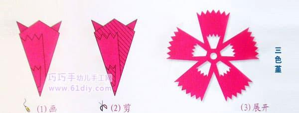 三色堇剪纸纹样(五角折剪)