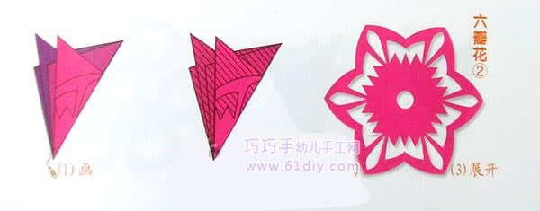 六角折剪的折叠方法   猜你喜欢:六角折剪窗花六瓣花花剪纸剪纸纹样