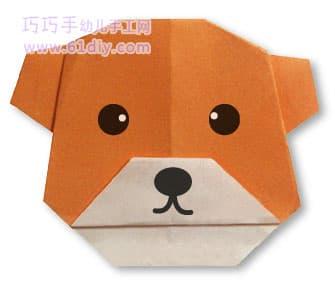 小狗折纸教程(动物折纸)_巧巧手幼儿手工网