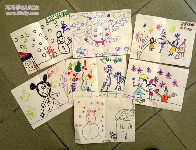 小朋友手工制作的新年卡片(5)_巧巧手幼儿手工网