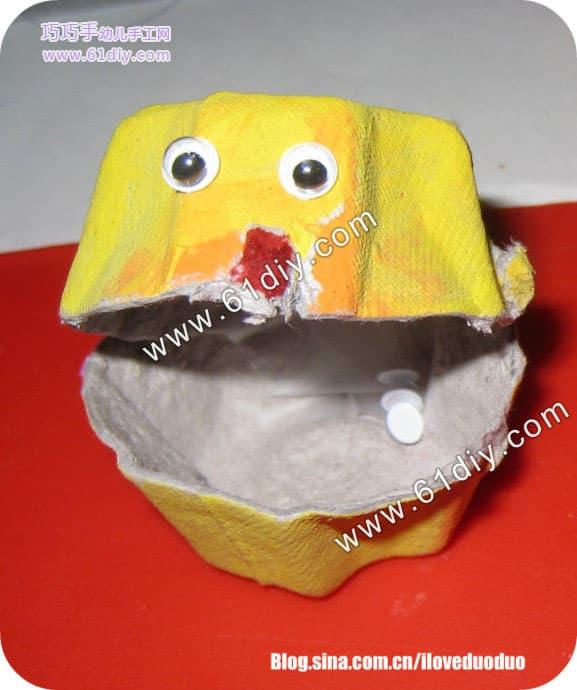鸡蛋盒手工制作海洋动物(七彩小贝壳)