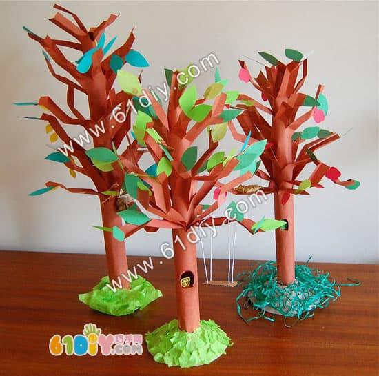 纸筒树的手工制作_巧巧手幼儿手工网
