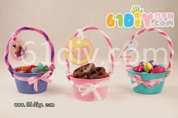 幼儿手工彩泥制作篮子