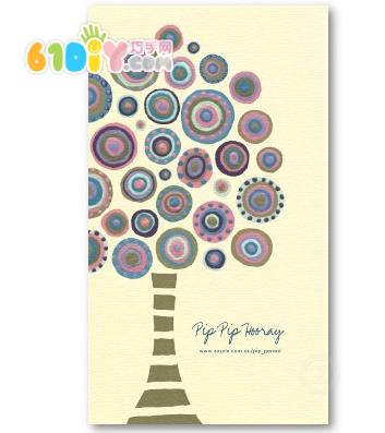 幼儿卡纸贴画树