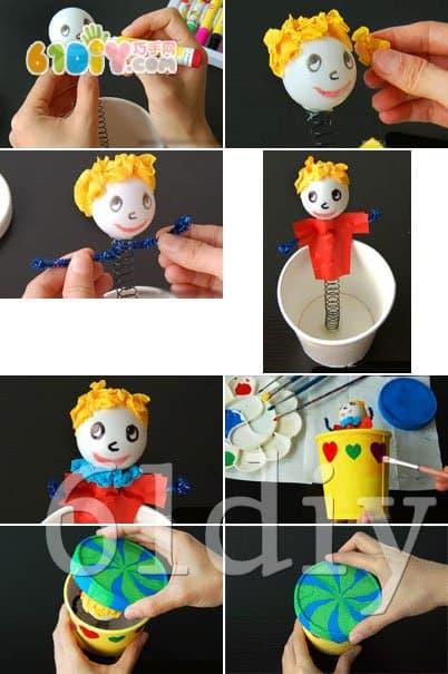 冰激凌盒制作趣味弹簧玩具_巧巧手幼儿手工网