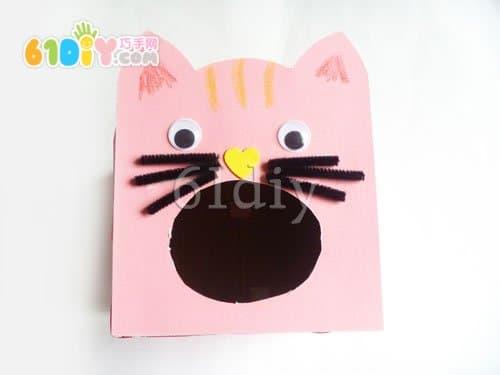 纸盒手工制作小猫吃鱼_巧巧手幼儿手工网