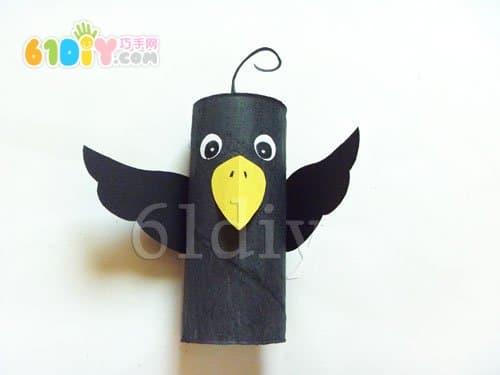 卫生纸筒制作的可爱小乌鸦