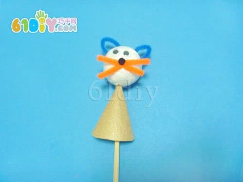泡沫球小猫玩偶制作图解_巧巧手幼儿手工网