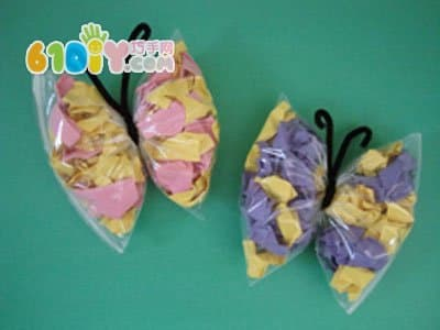 儿童春天diy:塑料袋蝴蝶手工制作