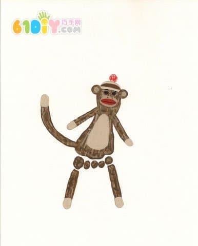 可爱有趣的创意脚印画——猴子