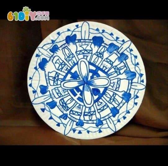 纸盘青花瓷手工作品