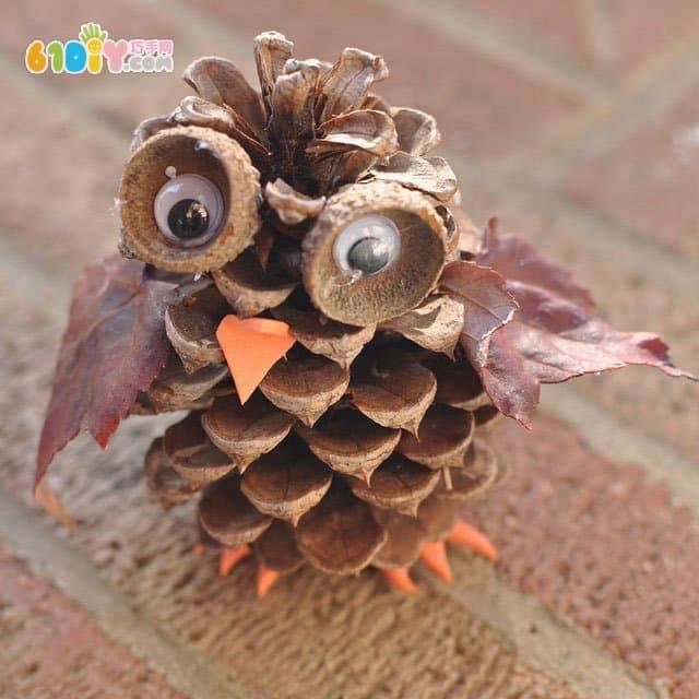 儿童diy:松果手工制作猫头鹰