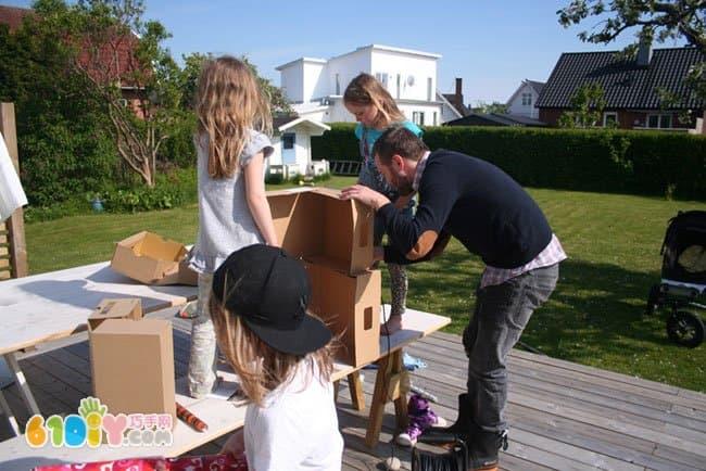 亲子手工制作纸箱大房子
