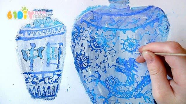 儿童创意手工 漂亮的青花瓷图片