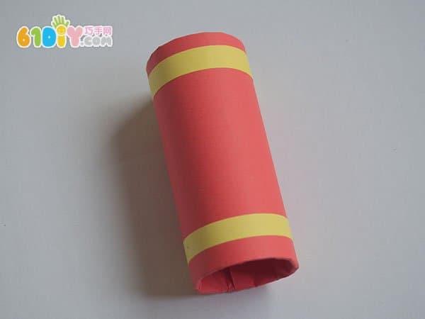卷纸芯手工制作新年鞭炮串挂饰_巧巧手幼儿手工网