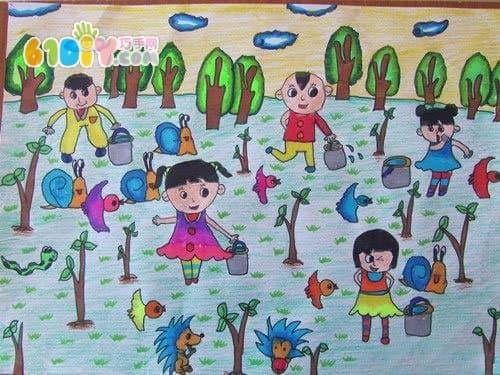 植树节儿童画作品_巧巧手幼儿手工网