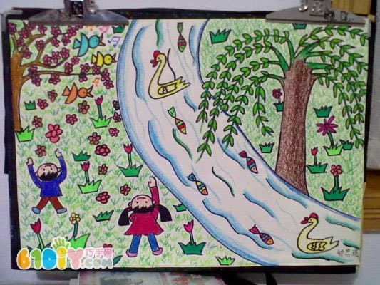 关于春天的儿童画作品_巧巧手幼儿手工网