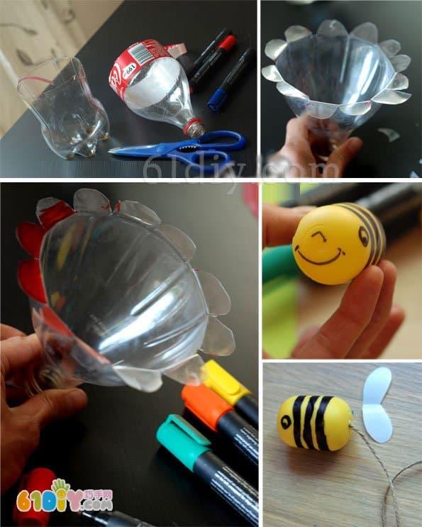 创意抛接球玩具制作 蜜蜂和花朵_巧巧手幼儿手工网