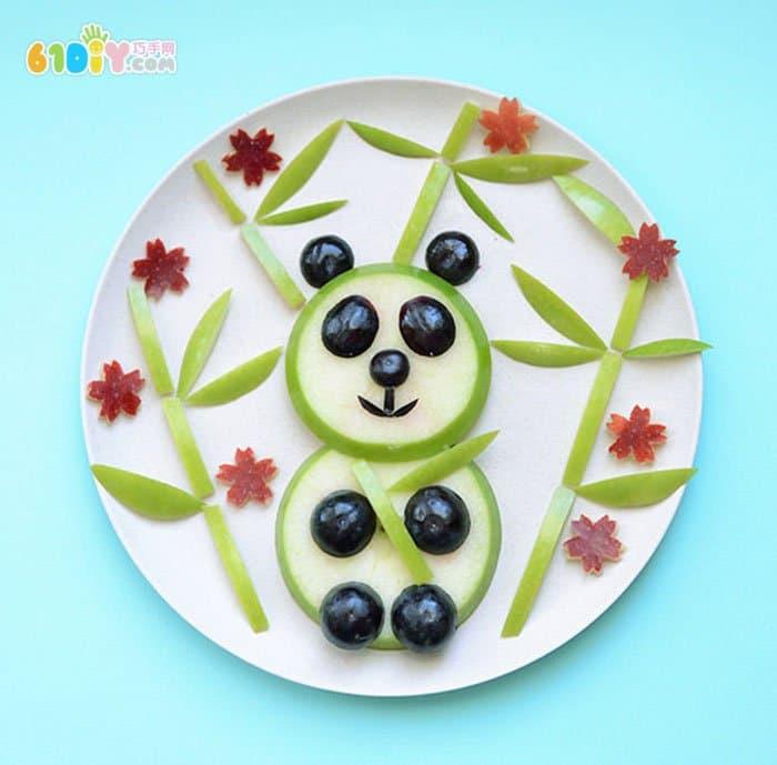 苹果趣味手工 熊猫水果拼盘_巧巧手幼儿手工网