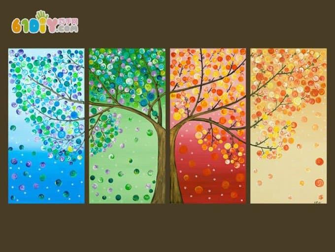 树的手工 春夏秋冬纽扣装饰画(3)图片