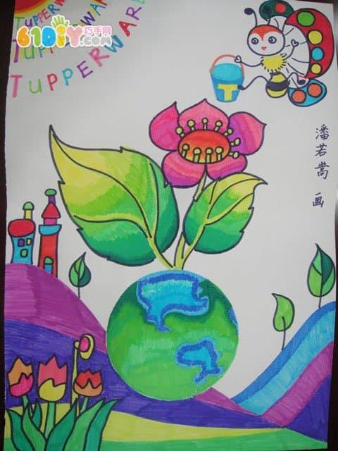 爱护环境保护地球主题儿童画_巧巧手幼儿手工网