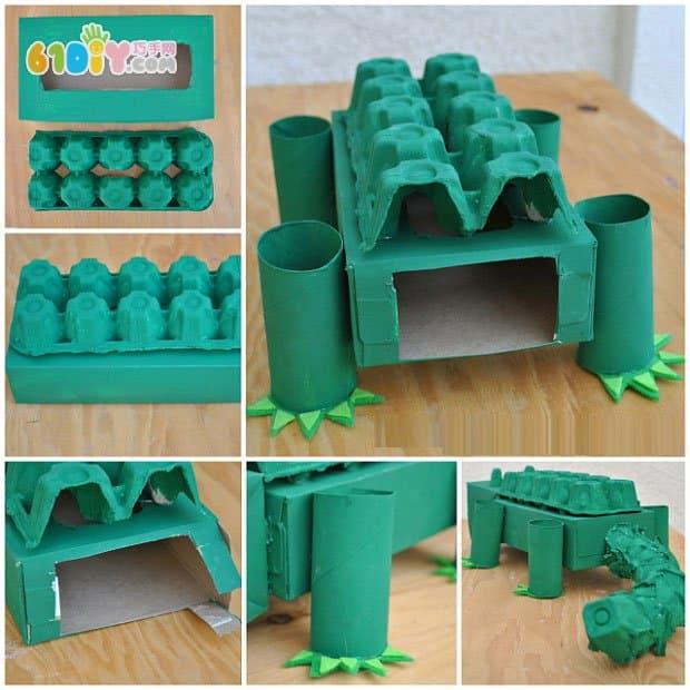 手工材料:废 纸盒, 鸡蛋盒,卷 纸筒, 不织布,胶枪,剪刀,动物眼睛