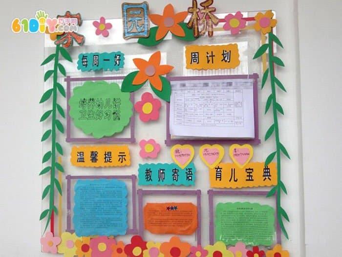 幼儿园公告栏内容布置 家园桥