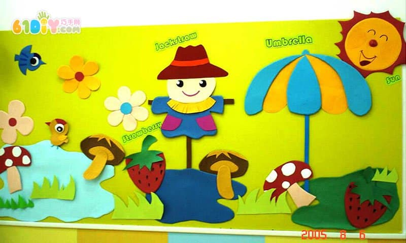 幼儿园主题墙装饰图片 秋天的稻草人