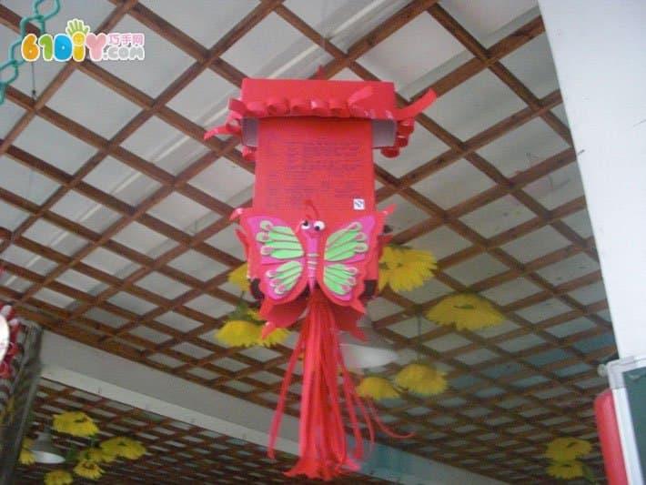 幼儿园中秋节走廊挂饰 月饼盒灯笼图片