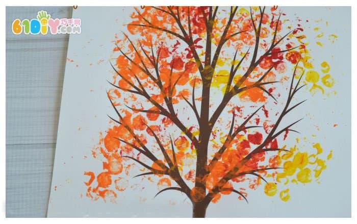 儿童创意画 用泡泡膜画秋天的树_巧巧手幼儿手工网