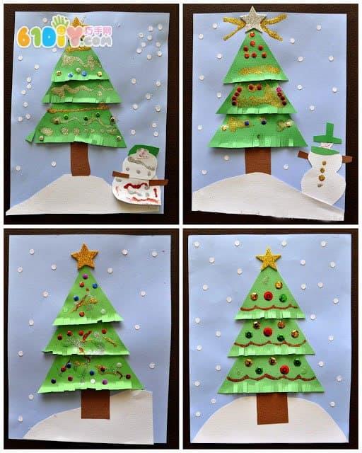 圣诞节儿童手工 圣诞树贴画图片