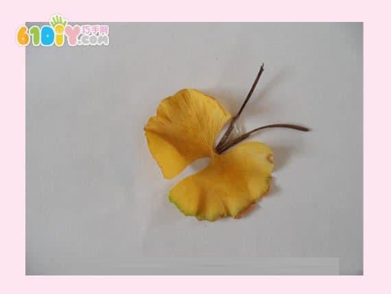 蝴蝶树叶贴画作品图片