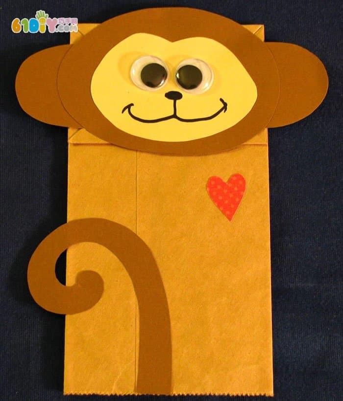 小猴子纸袋手偶手工