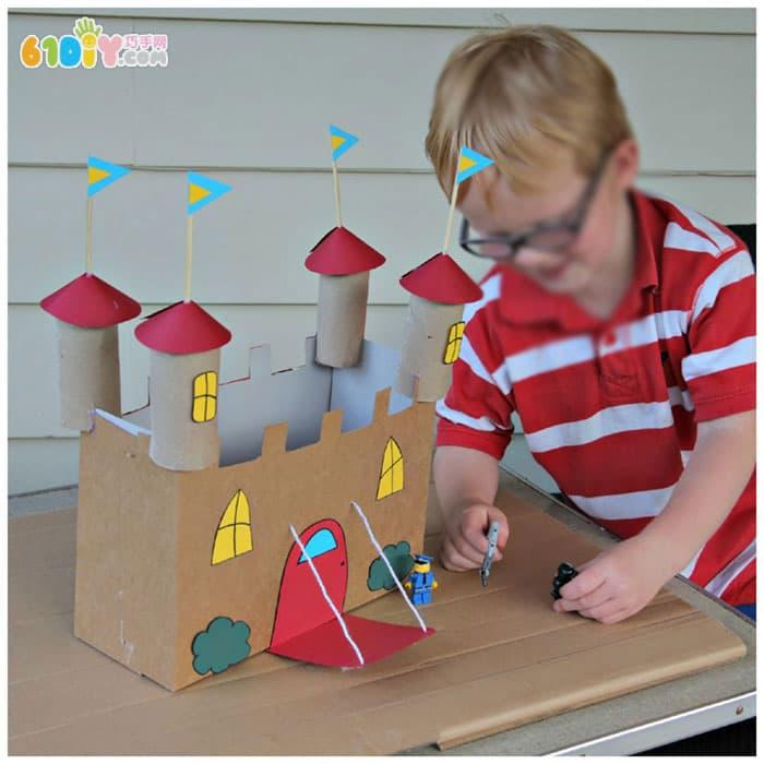 儿童手工 废纸盒纸筒制作城堡