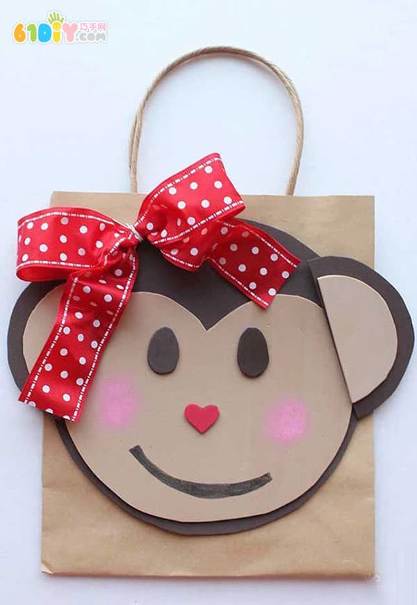 猴子礼物袋手工制作_巧巧手幼儿手工网图片