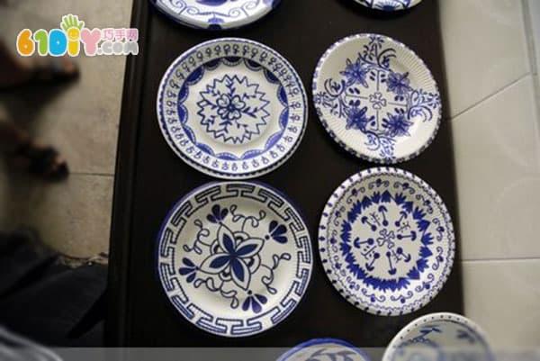 儿童手工 纸碗纸盘青花瓷作品