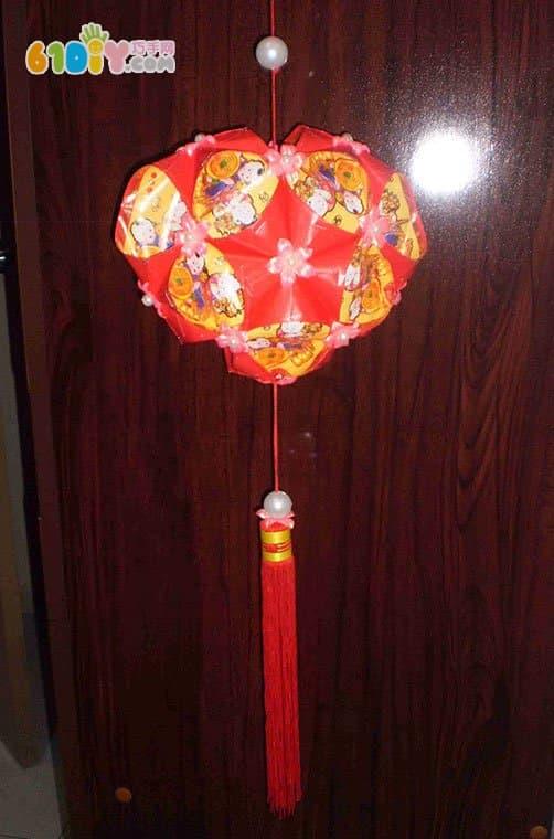 元宵节diy 心形红包灯笼制作过程
