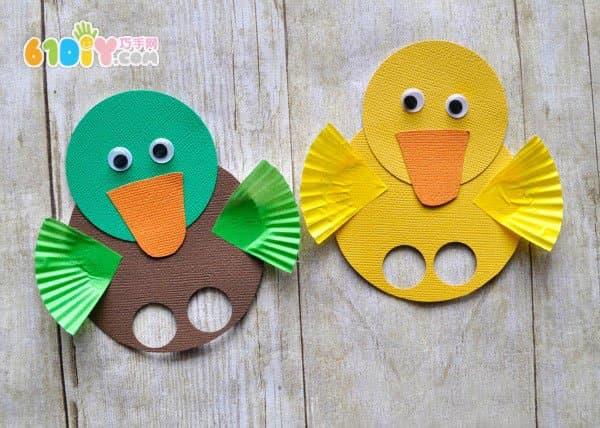春天儿童小制作 可爱的小鸭子手指偶