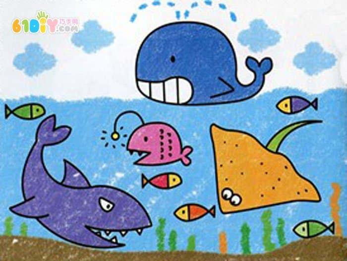 海底世界儿童画作品_巧巧手幼儿手工网