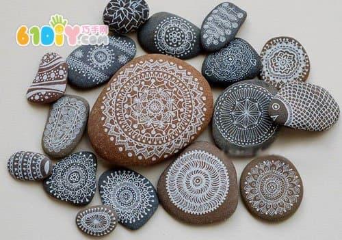 精美石头彩绘手工作品
