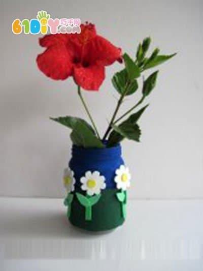 不织布装饰花瓶手工制作