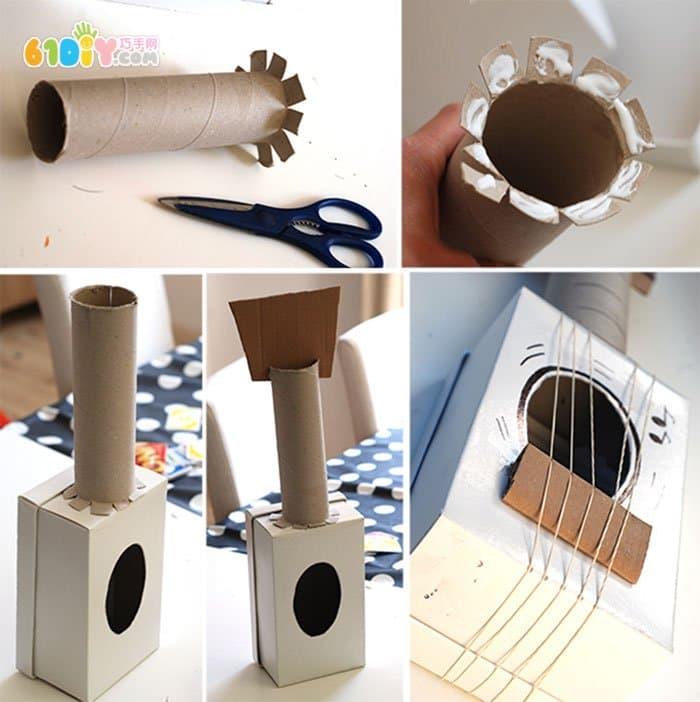儿童创意diy 废纸盒纸筒制作吉它_巧巧手幼儿手工网