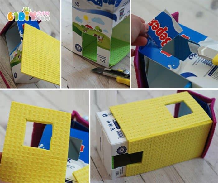 手工材料:牛奶盒, 海绵纸,麻绳,火柴,美工刀,笔,订书机